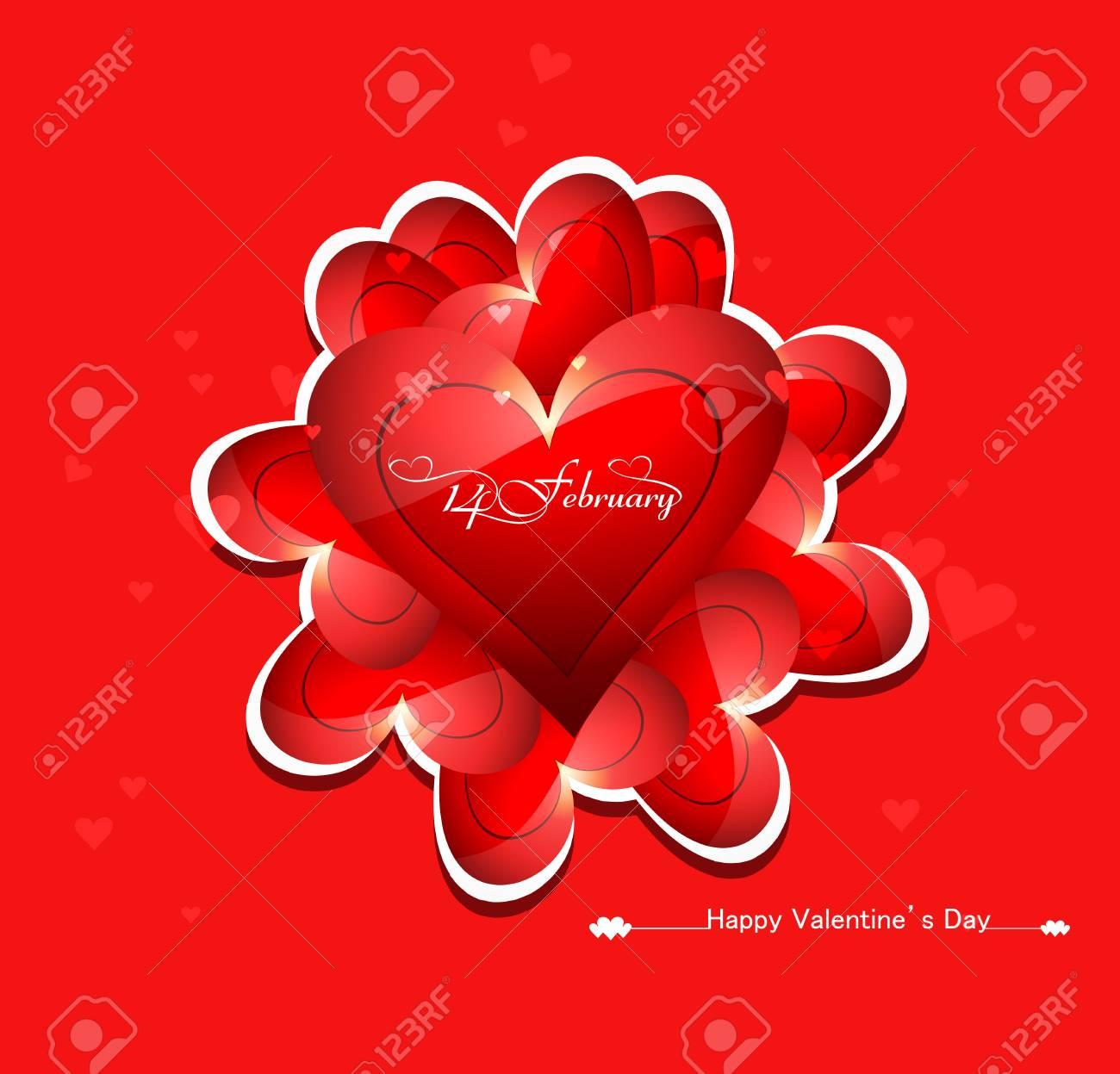Schone Bunte Karte Fur Valentinstag Herz Design Vektor Lizenzfrei