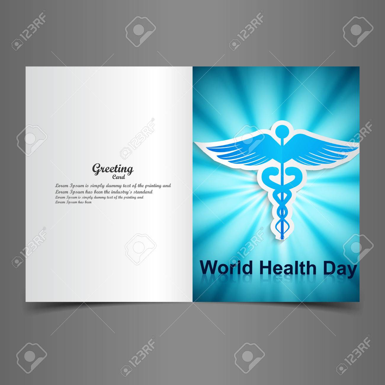 World health day greeting card beautiful caduceus medical symbol illustration vector Stock Vector - 27157597