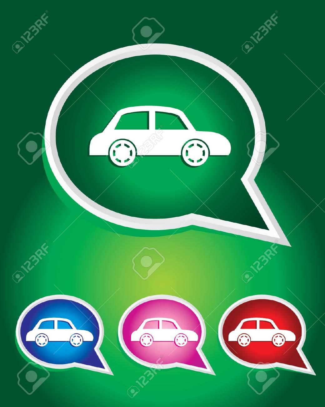 Taxi Car Icon on The Speech Bubble Stock Vector - 20668740