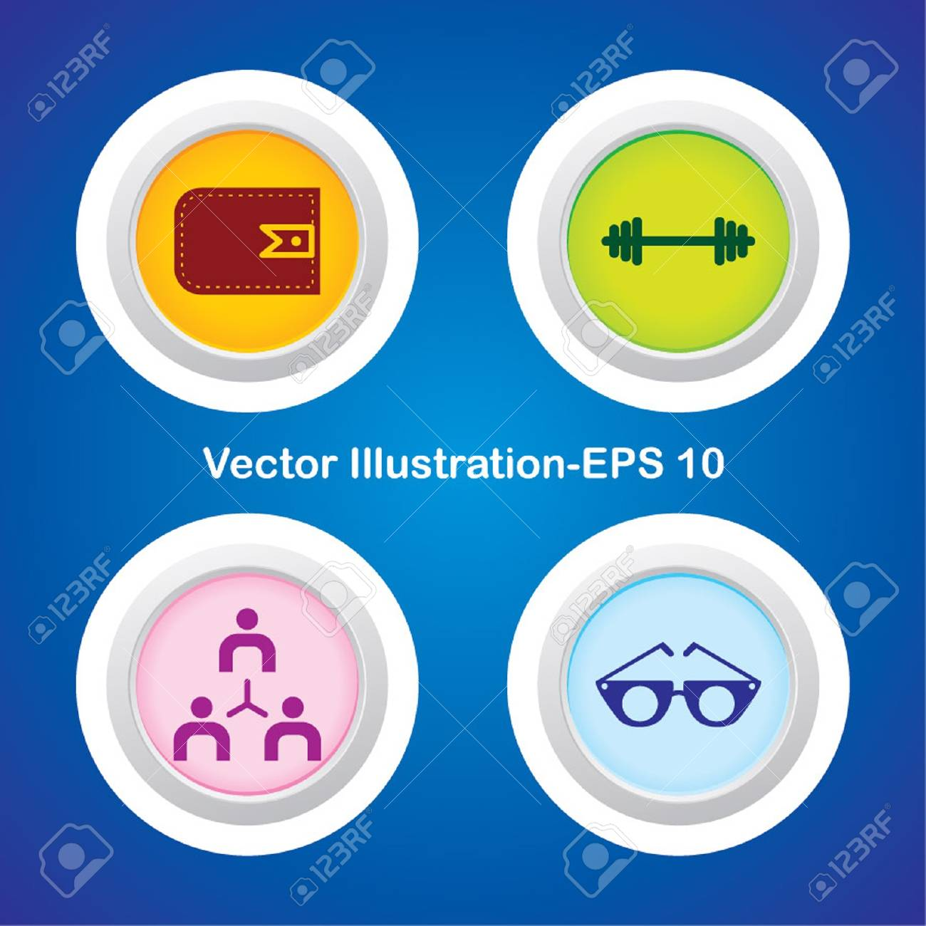 Four Vector Buttons with Very Useful Web Icons Stock Vector - 21700158