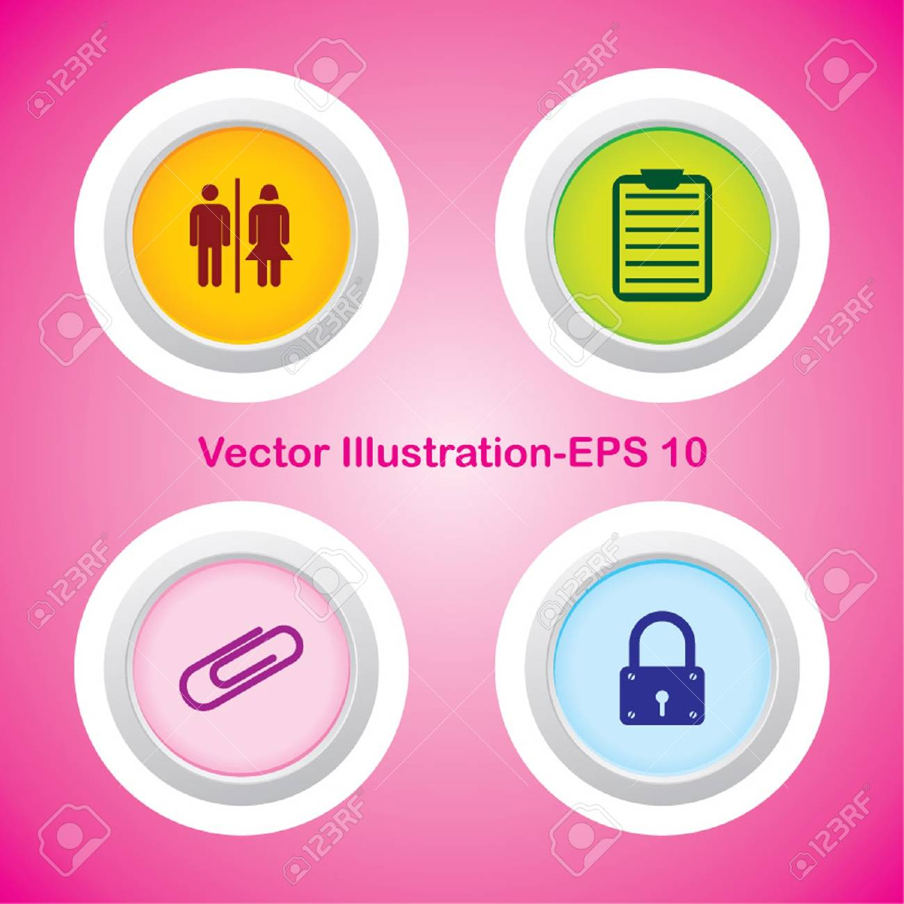 Four Vector Buttons with Very Useful Web Icons Stock Vector - 21700200