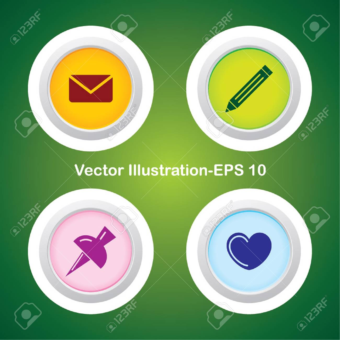 Four Vector Buttons with Very Useful Web Icons - 21700209