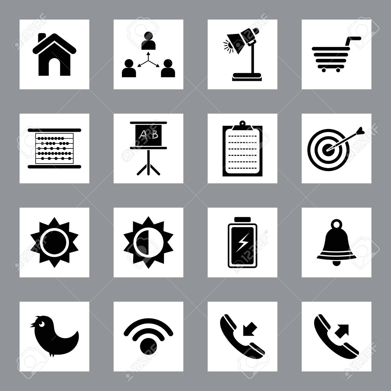 Very Useful   Attractive Colorful Icons For Web   Mobile on Buttons Stock Vector - 26449286
