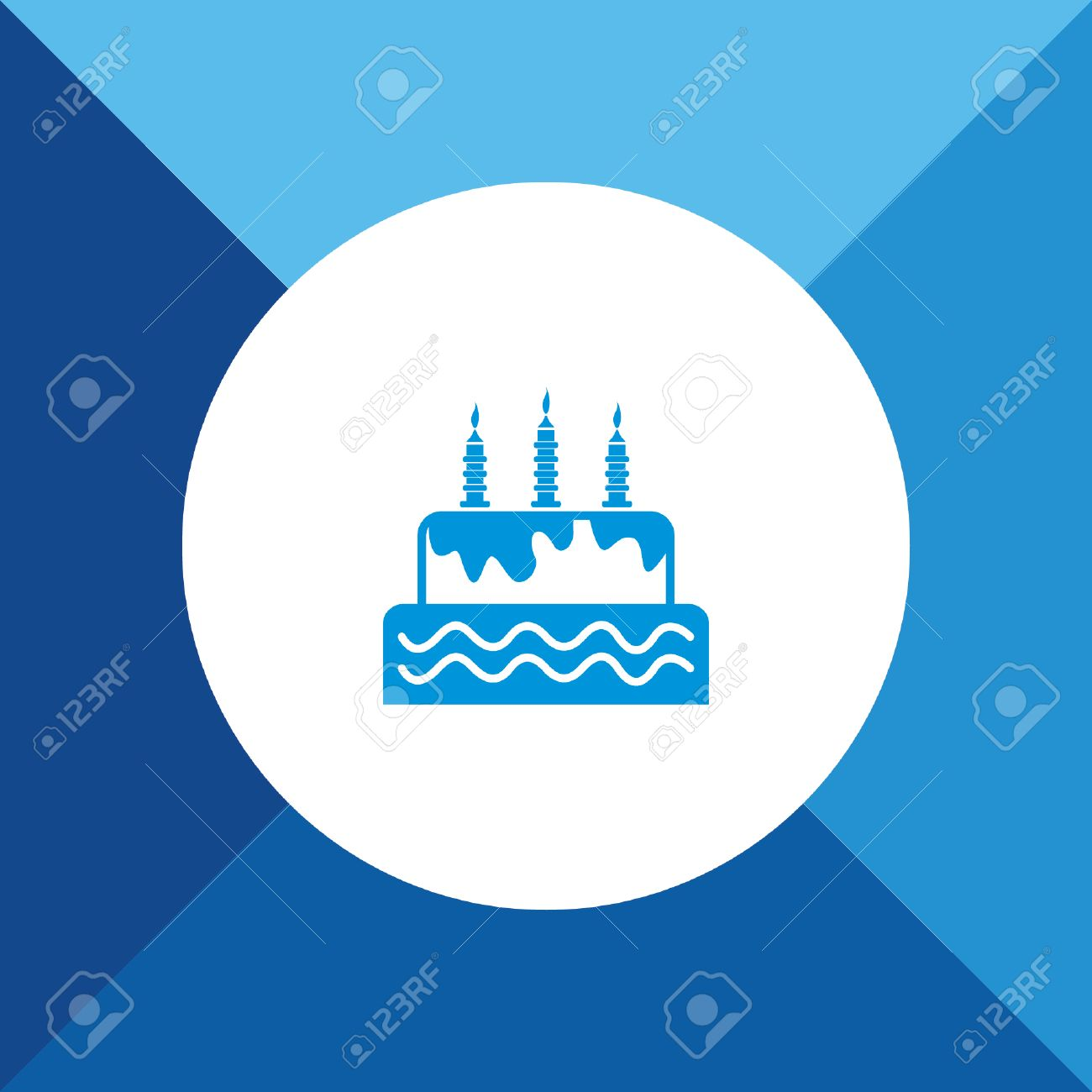 Birthday Cake Icon On Blue Color Background Royalty Free Cliparts