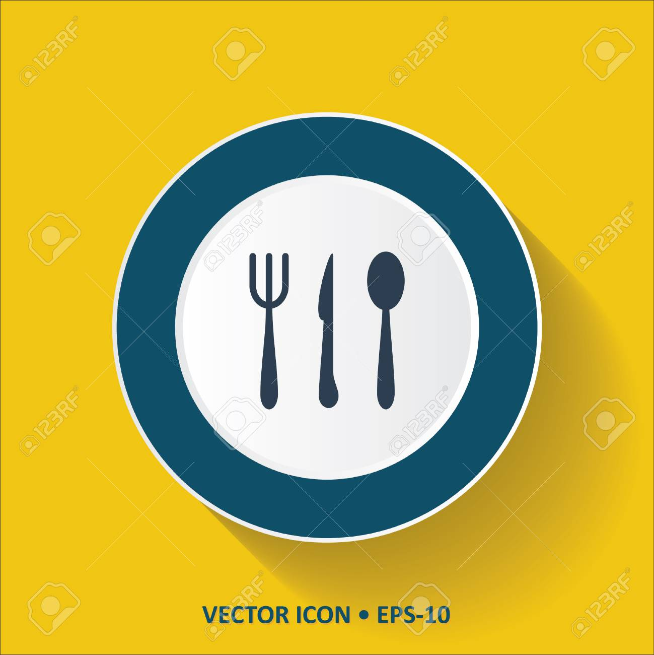 Blue Vector Icon Of Restaurant On Yellow Color Background With Royalty Free Cliparts Vectors And Stock Illustration Image 45603926