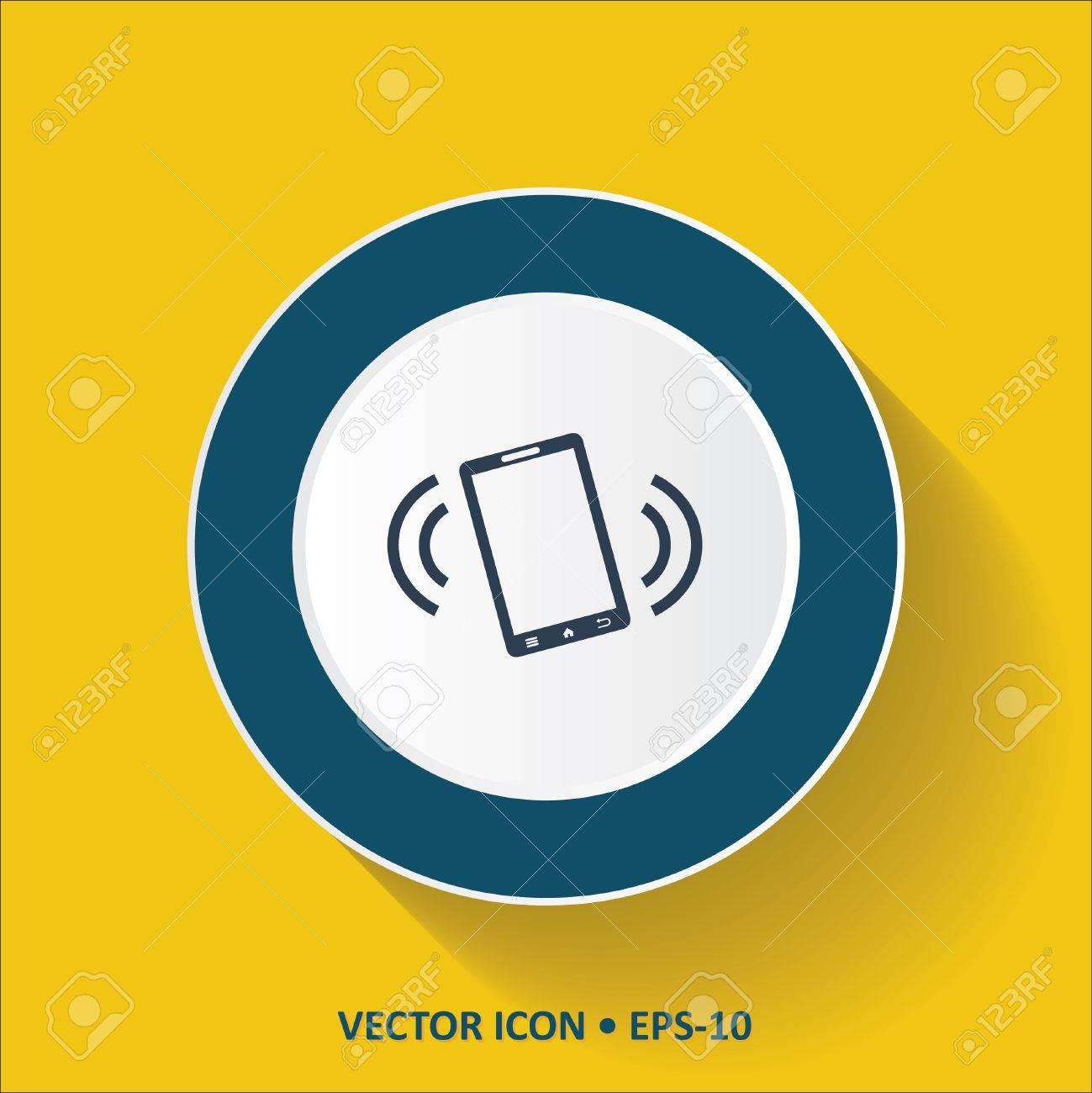 Blu Vettore Icona Del Telefono Cellulare Su Modalità Di Vibrazione Su Sfondo Giallo A Colori Con Una Lunga Ombra Eps10