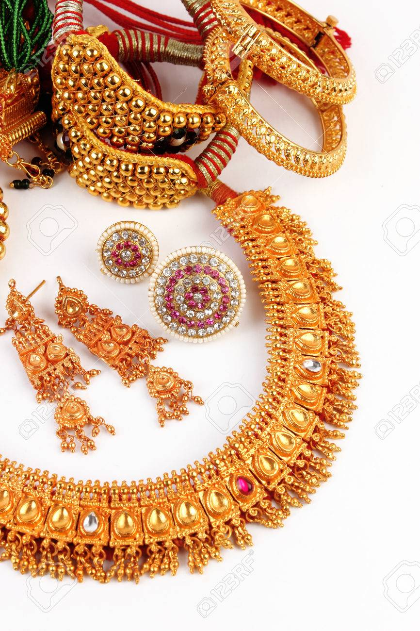 All Mix Indian Traditional Gold Jewellery Isolated On White Stock