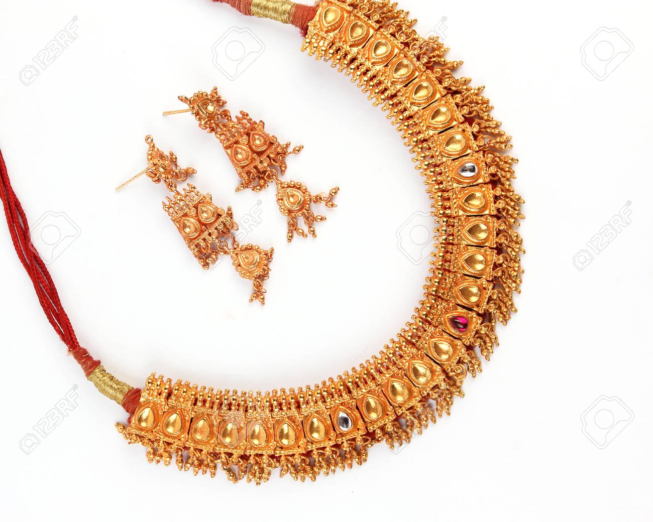 Indian Traditional Gold Jewellery Necklace Earrings Isolated