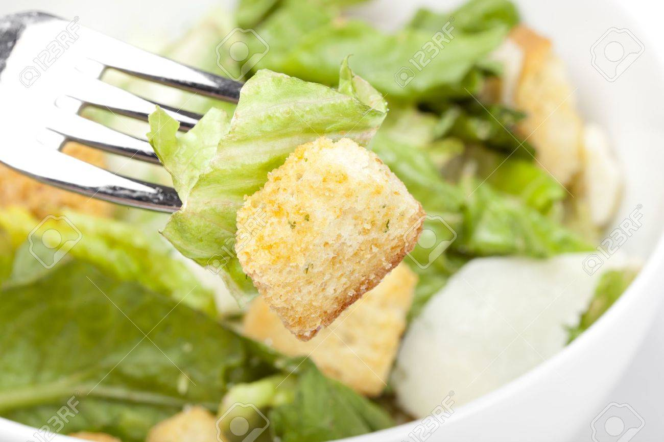 Fresh green salad with croutons Stock Photo - 9776491