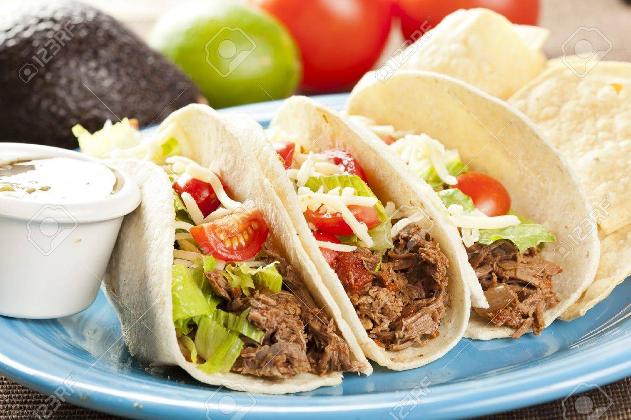Fresh Homemade Shredded Beef Tacos with organic ingredients Stock Photo - 14987874