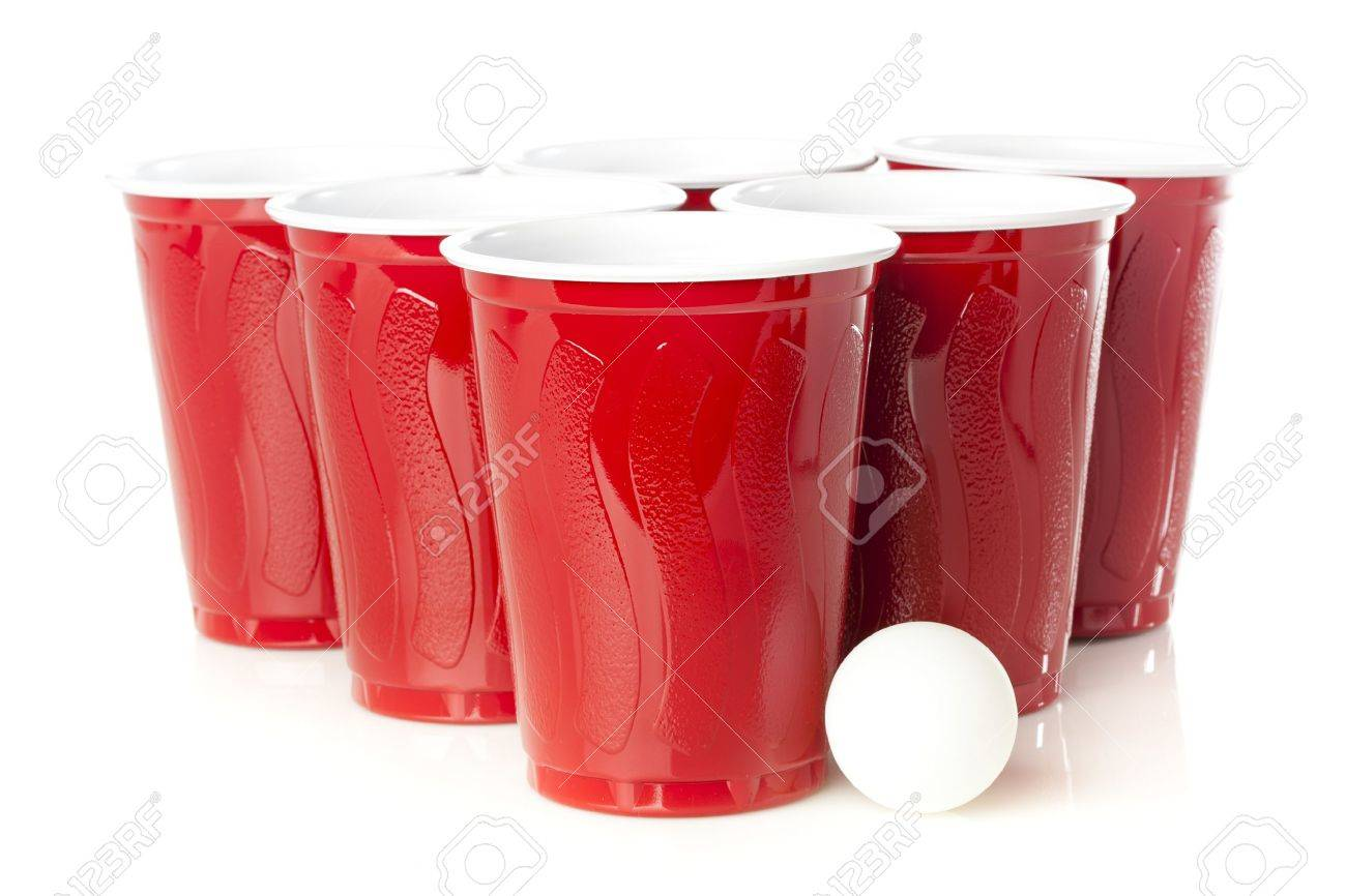 Red Beer Pong Cups ready to play a game Stock Photo - 16712650