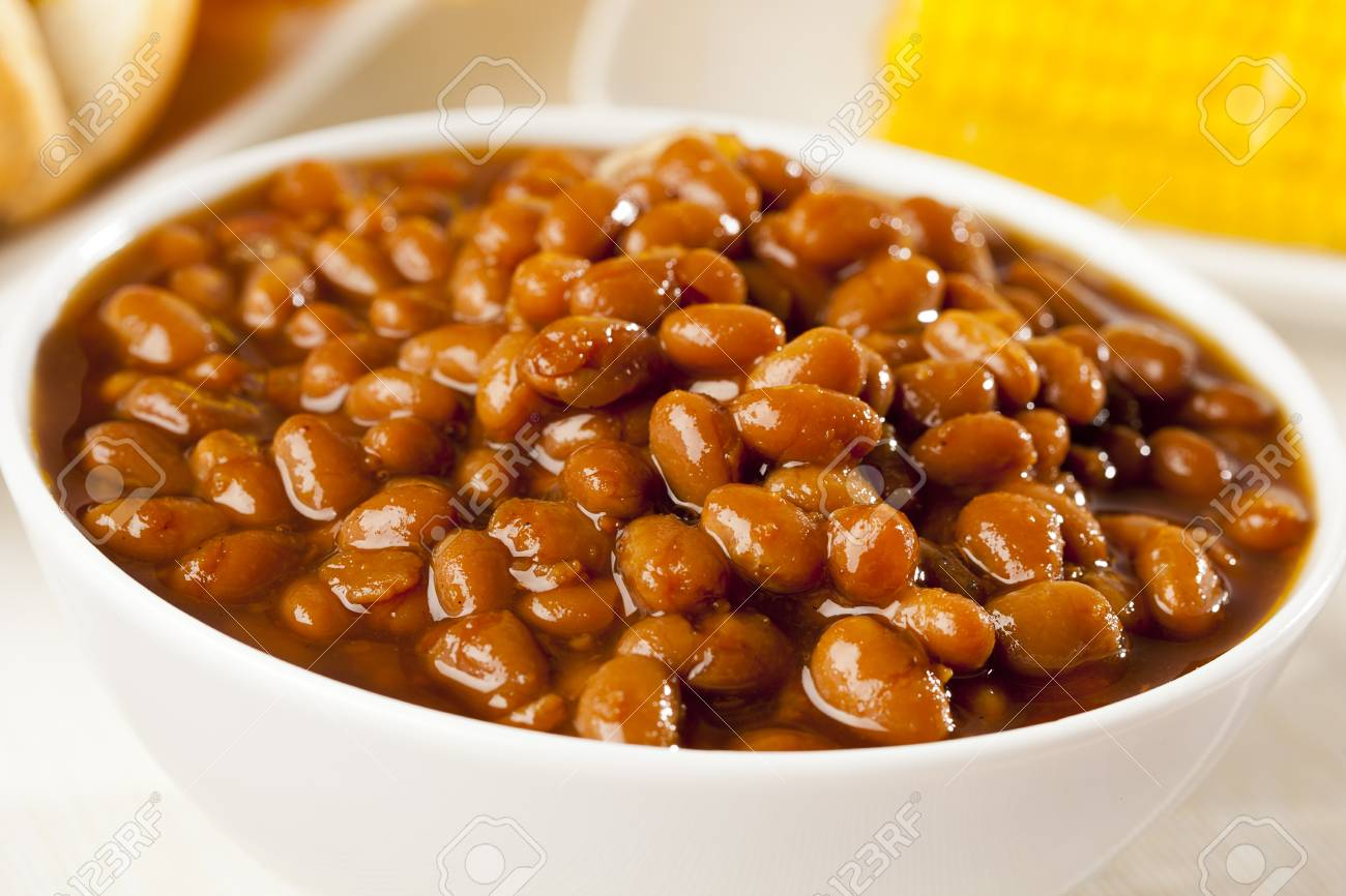 Fresh Homemade BBQ Baked Beans on a background Stock Photo - 17170422