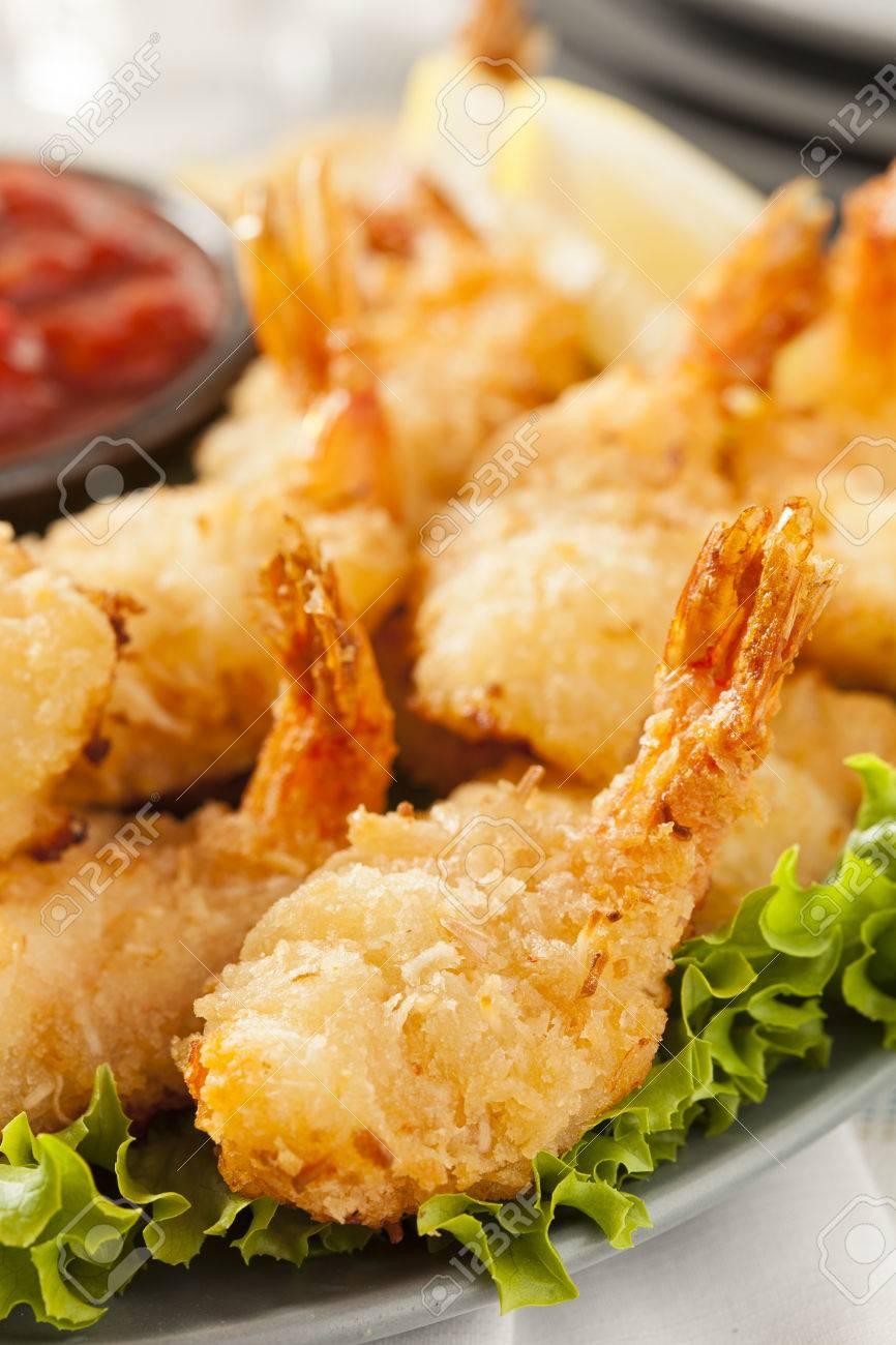Fried Organic Coconut Shrimp With Cocktail Sauce Stock Photo ...