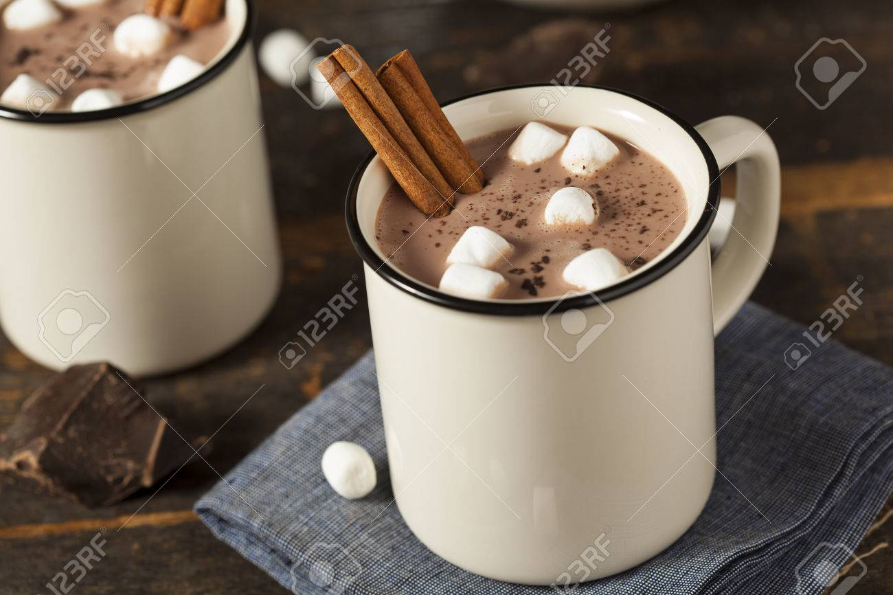 Gourmet Hot Chocolate Milk With Cinnamon And Marshmallows Stock ...