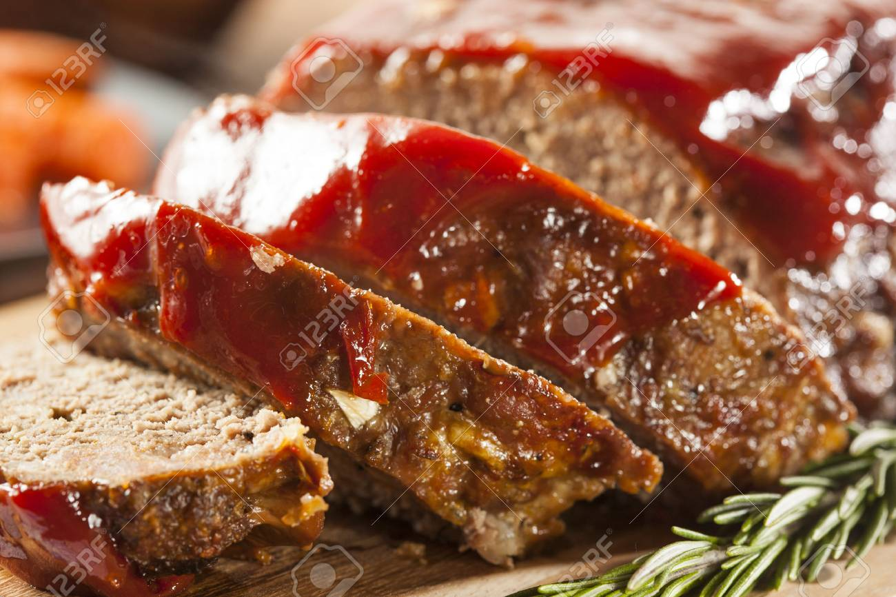 Homemade Ground Beef Meatloaf with Ketchup and Spices Stock Photo - 24927934