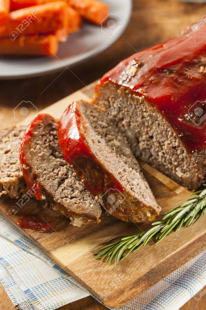 Homemade Ground Beef Meatloaf with Ketchup and Spices Stock Photo - 24927942