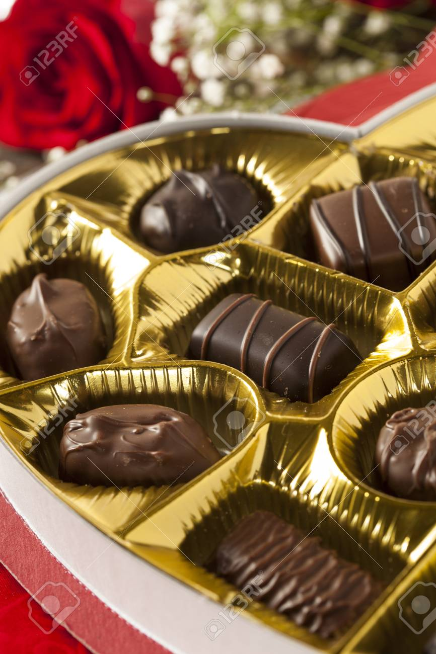 Fancy Box Of Gourmet Chocolates For Valentine S Day Stock Photo