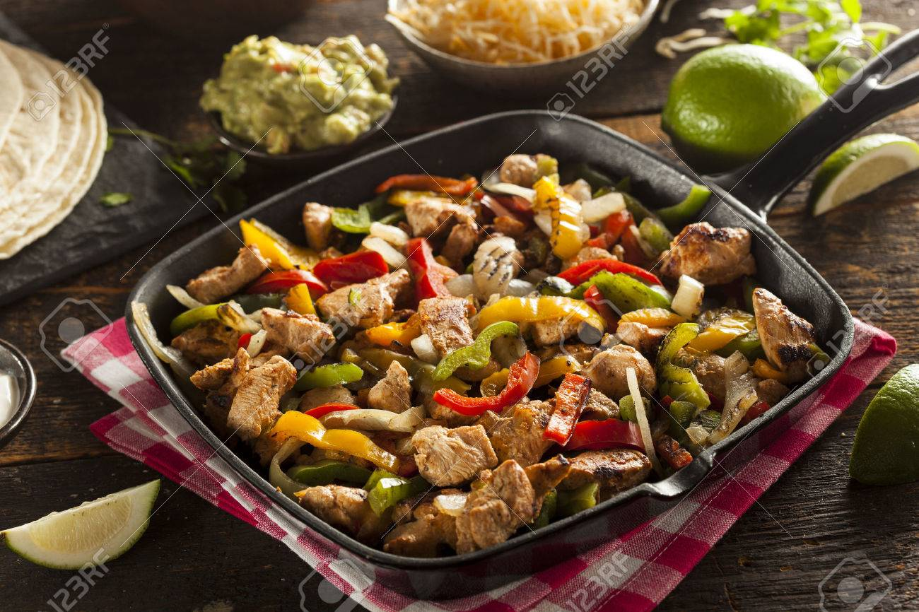 Homemade Chicken Fajitas with Vegetables and Tortillas - 28245698