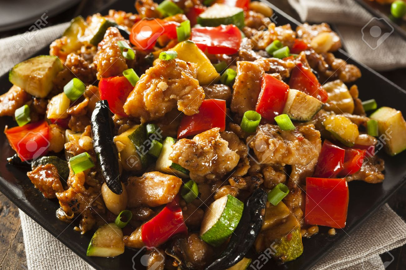 Homemade Kung Pao Chicken With Peppers And Veggies Stock Photo 30521753