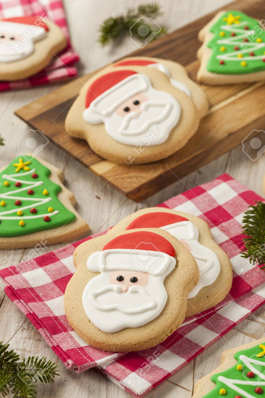 Homemade Christmas Sugar Cookies Decorated With Frosting
