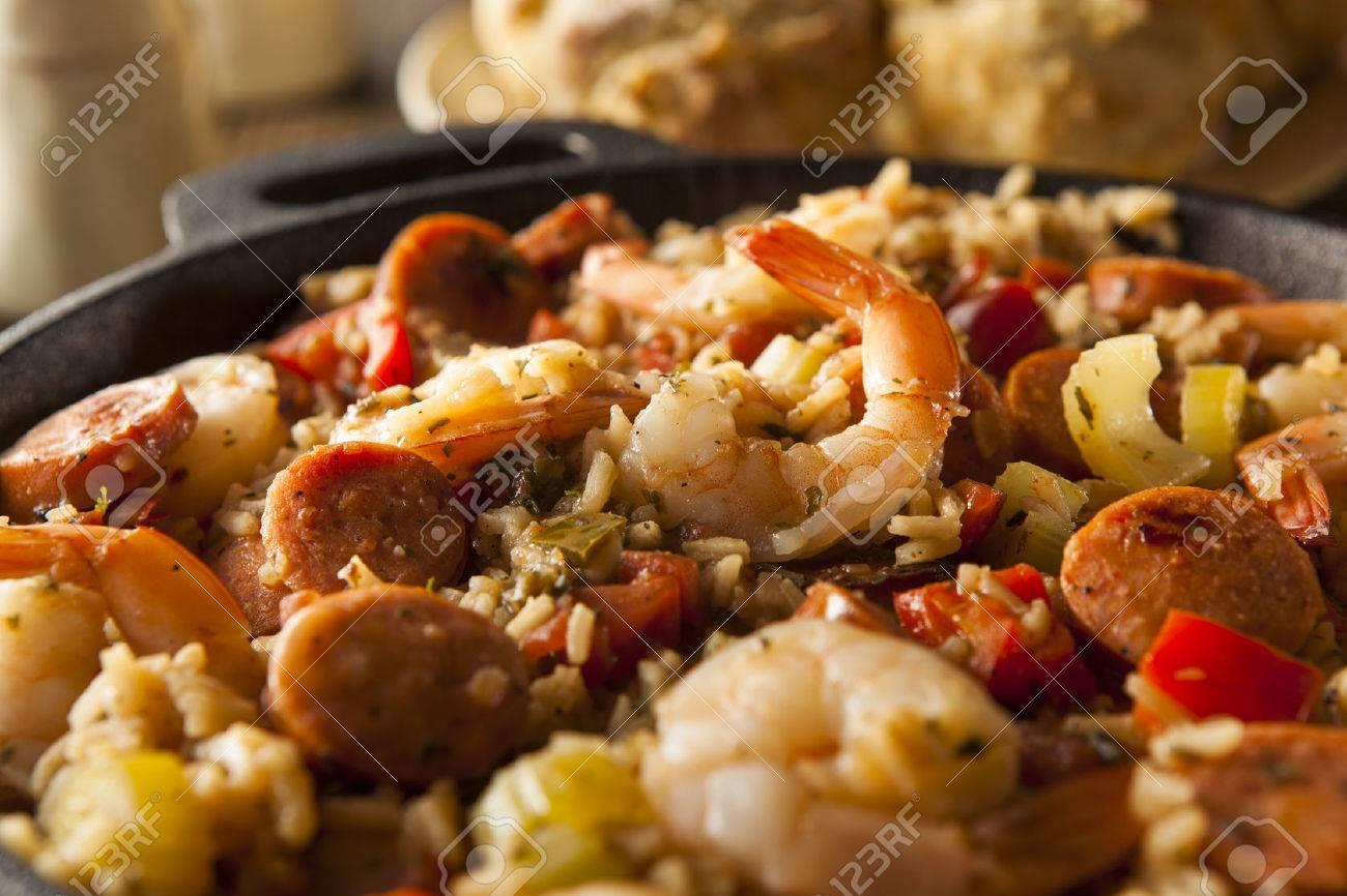 Spicy Homemade Cajun Jambalaya With Sausage And Shrimp Stock Photo
