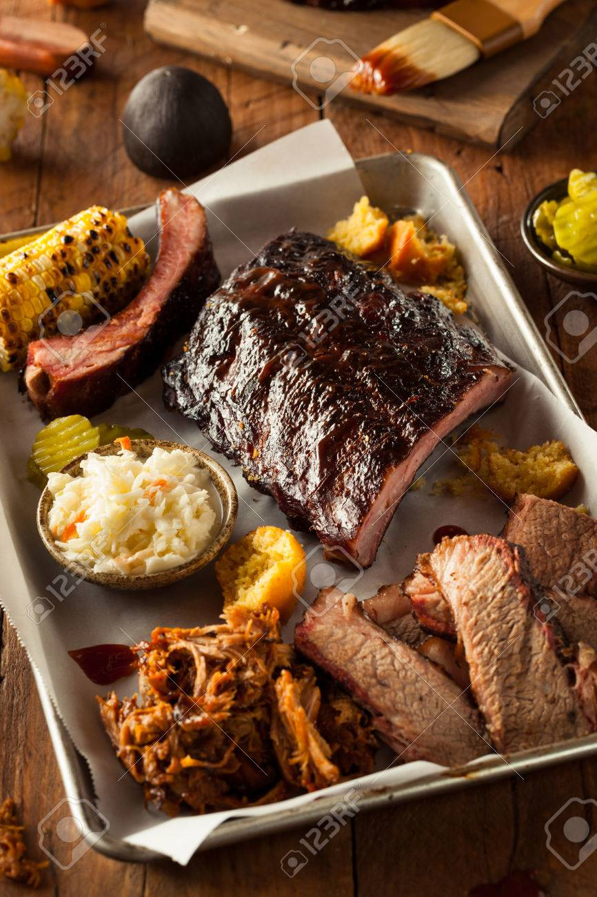 Barbecue Smoked Brisket And Ribs Platter With Pulled Pork And Stock Photo Picture And Royalty Free Image Image 41012158