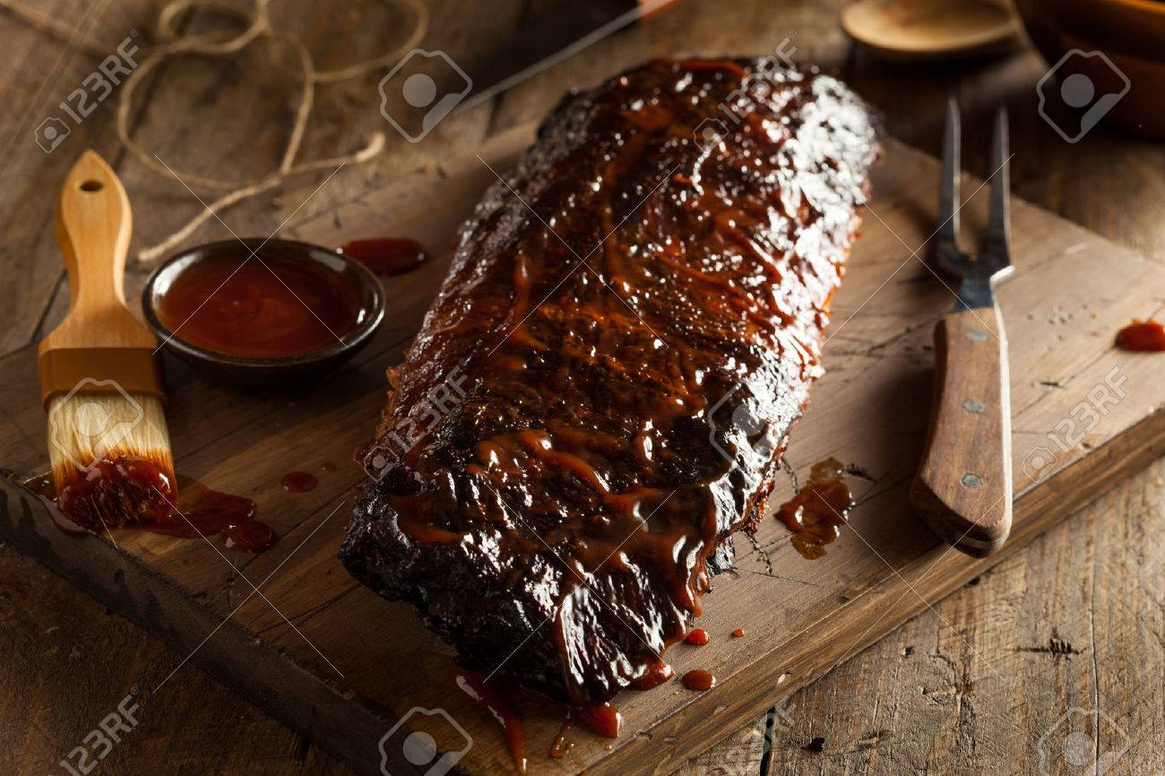 Homemade Smoked Barbecue Pork Ribs Ready to Eat - 41012313