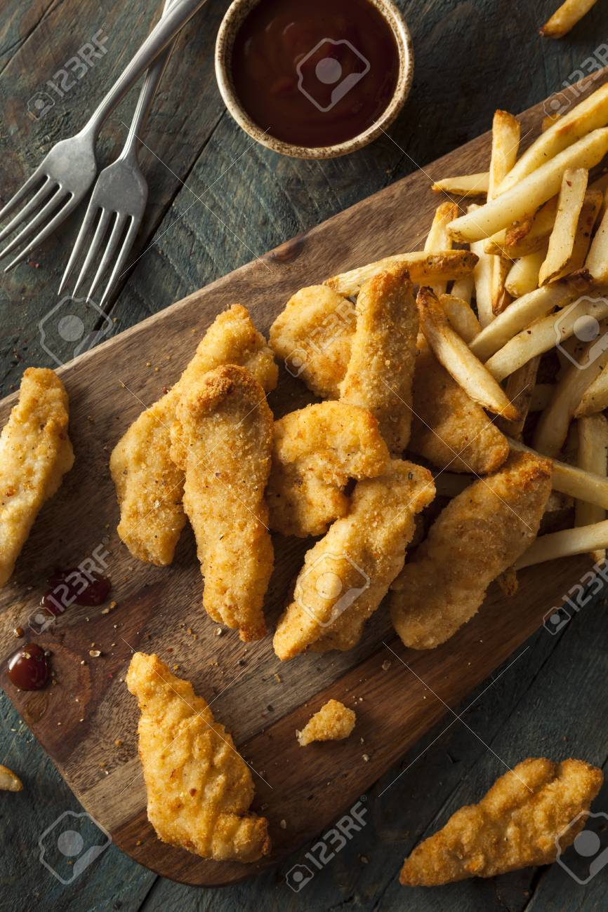 Homemade Breaded Chicken Tenders With Fries And Bbq Sauce Stock Photo Picture And Royalty Free Image Image 42961730