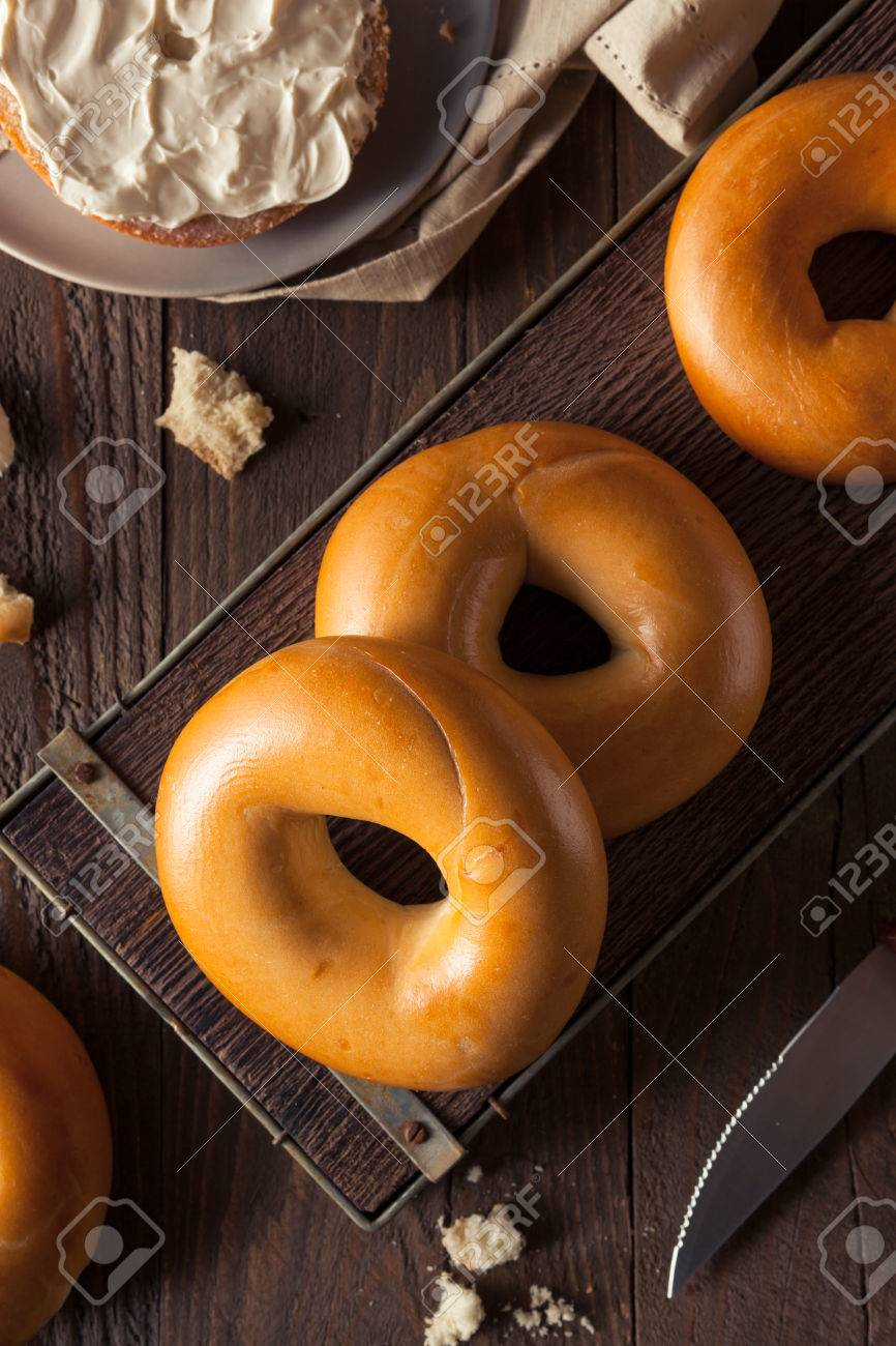 Homemade Plain Egg Bagels Ready To Eat Stock Photo, Picture And