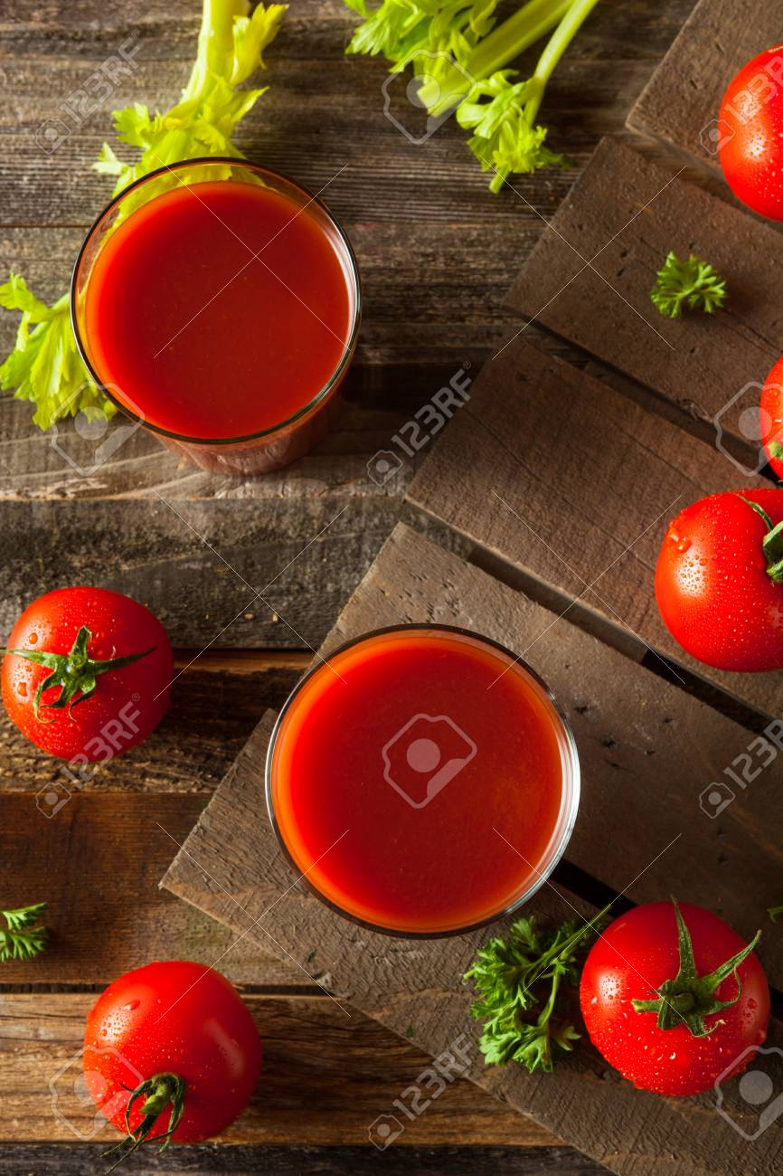 Raw Organic Tomato Juice with Parsley and Celery - 53875279