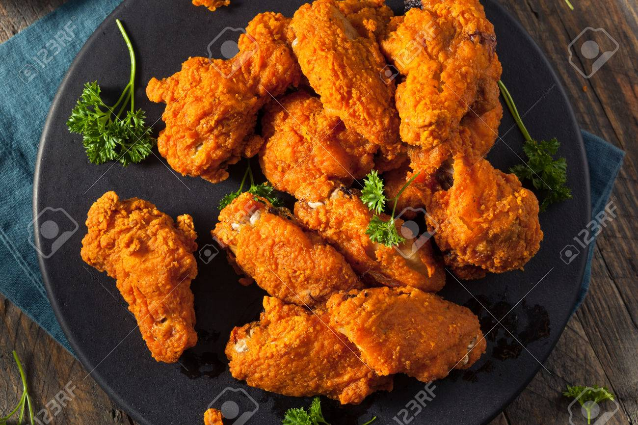 Spicy Deep Fried Breaded Chicken Wings with Ranch - 60764554