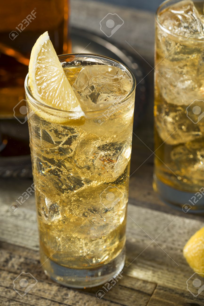 Whiskey Highball With Ginger Ale And Lemons Stock Photo Picture