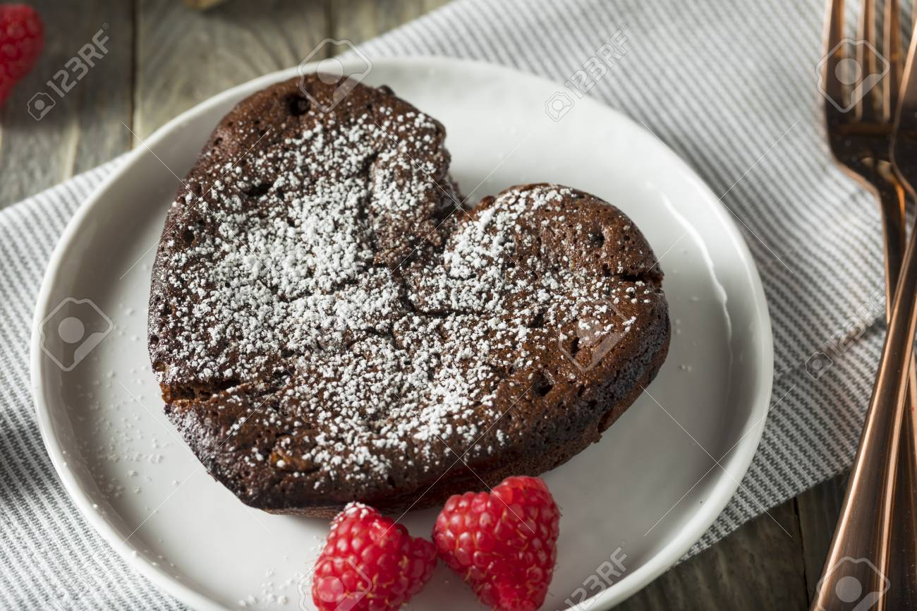 Homemade Sweet Chocolate Heart Lava Cake For Valentine S Day Stock
