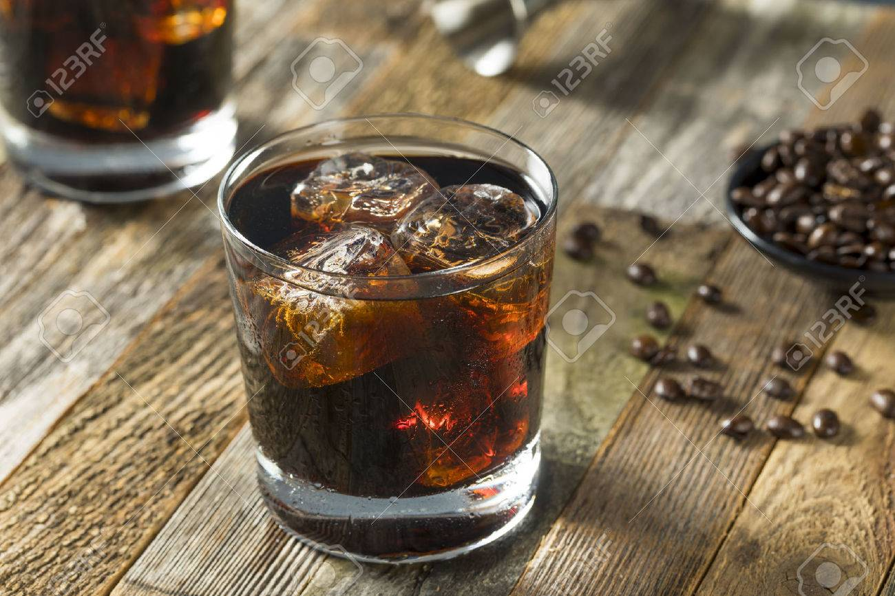 Alcoholic Boozy Black Russian Cocktail with Vodka and Coffee Liquor - 71349968
