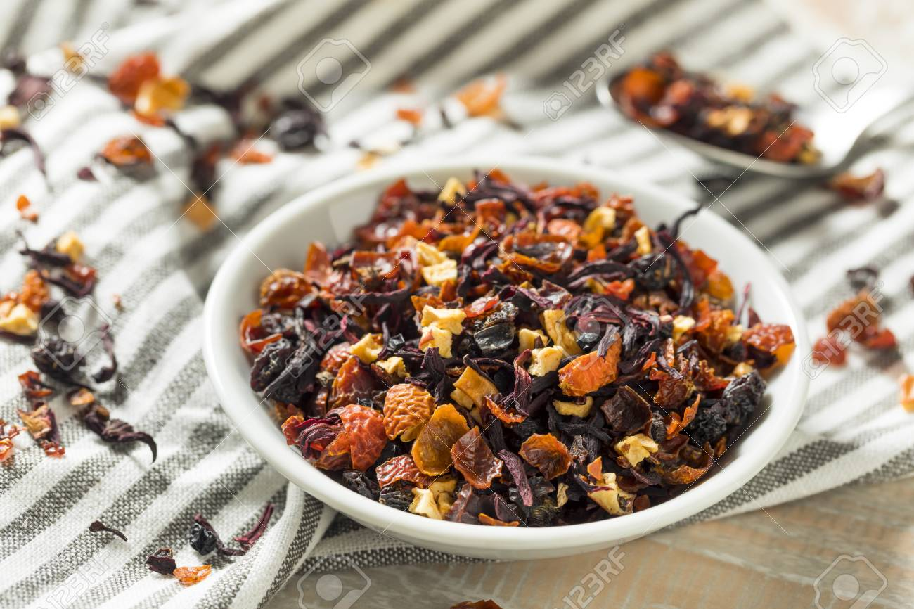 Dry Organic Berry Hibiscus Tea Leaves In A Bowl Stock Photo Picture