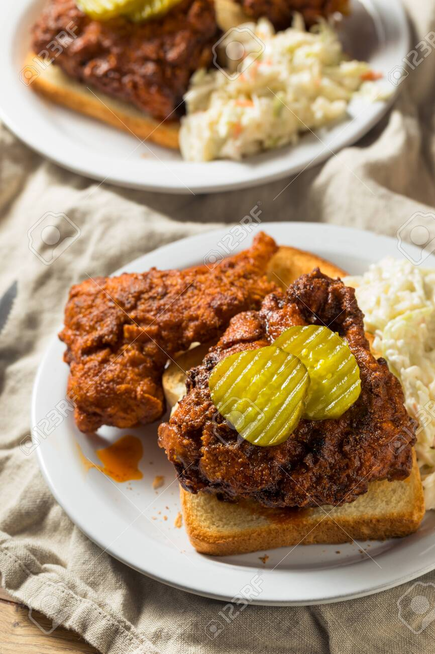 Homemade Nashville Hot Chicken with Bread and PIckles - 130144872