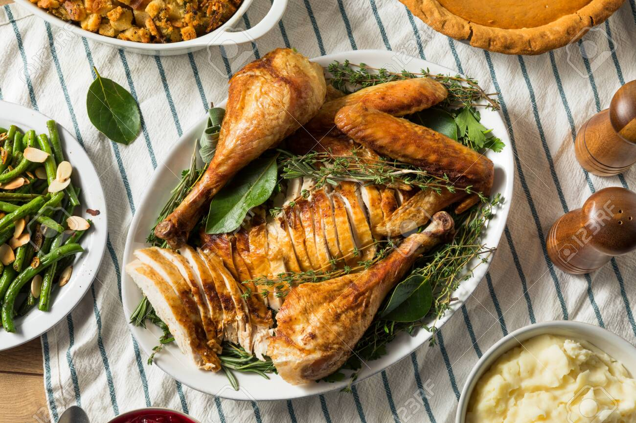Homemade Thanksgiving Cut Up Turkey Platter With All The Sides Stock Photo Picture And Royalty Free Image Image 133541152