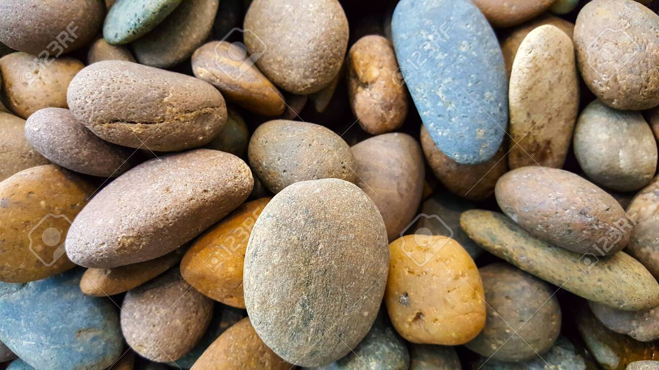 Colorful Stones And Rocks Along The Beach In Thailand Ready