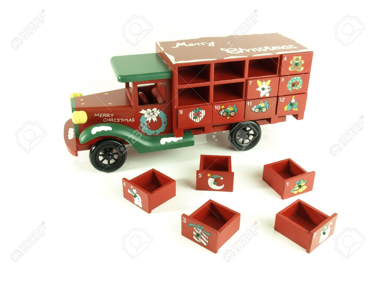 Christmas advent calendar old wooden lorry with drawers Stock Photo - 11512204