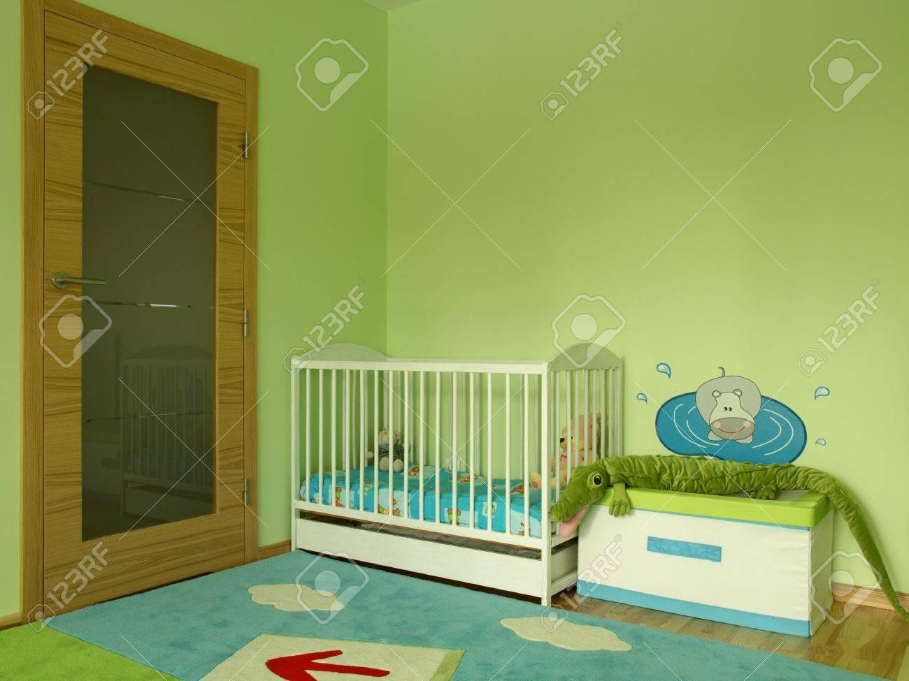 camera da letto per bambini di colore verde foto royalty free ... - Colore Verde Per Camera Da Letto