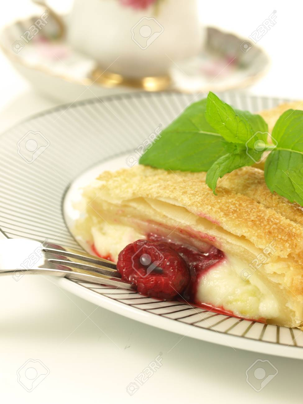 Raspberry crunchy strudel for a dessert, closeup Stock Photo - 13320265