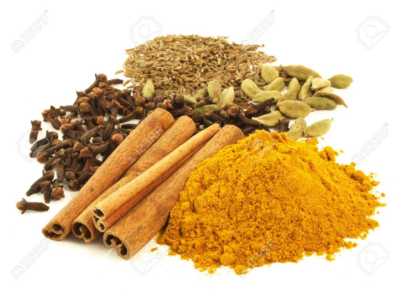 Various of aromatic spices on isolated background Stock Photo - 13542366