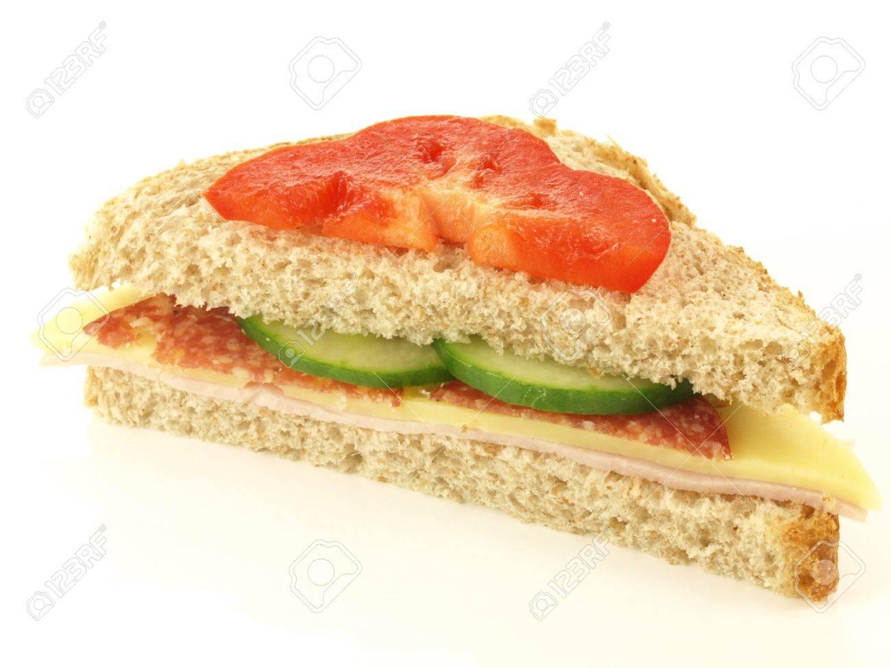 Half of tasty sandwich on white background Stock Photo - 13542459