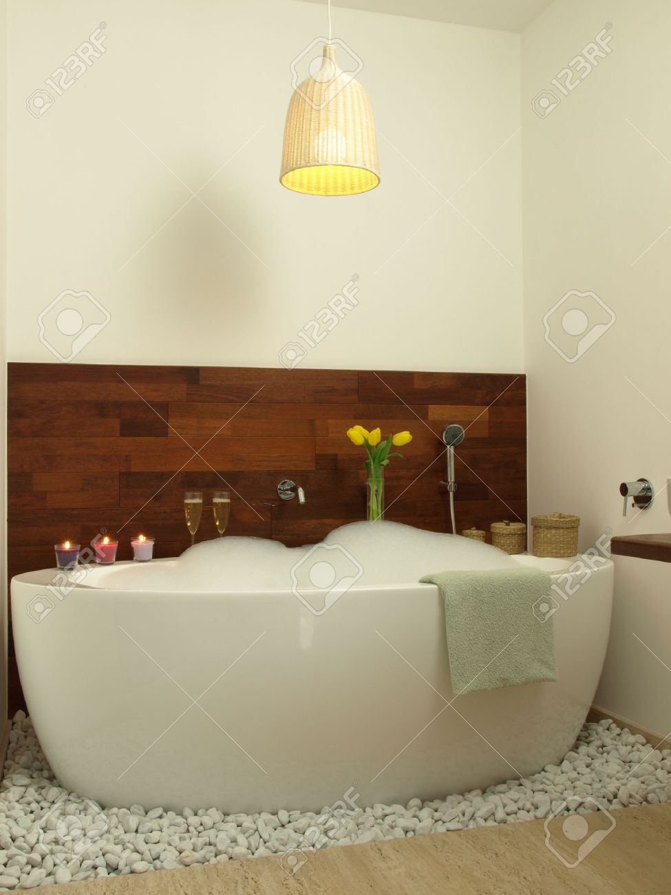 Romantic Bath With Candles Champagne And Tulips Stock Photo - Candles for bathroom