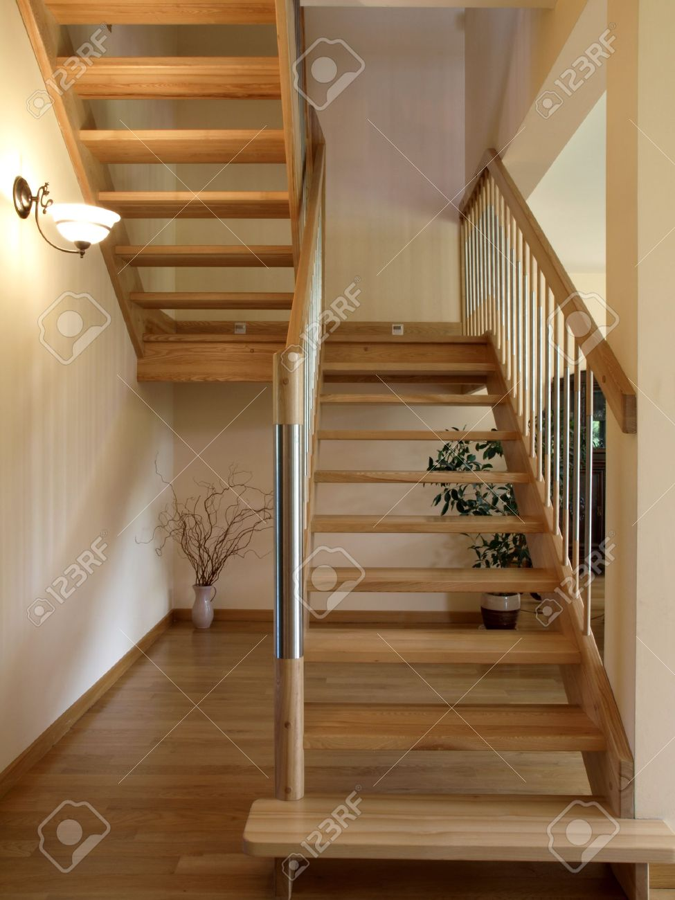 Modern metal and wooden staircase Stock Photo - 13871889