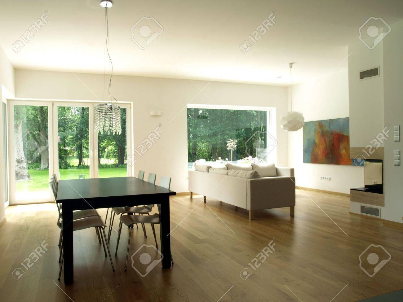 Interieur van modern huis, eetkamer, woonkamer royalty vrije foto ...