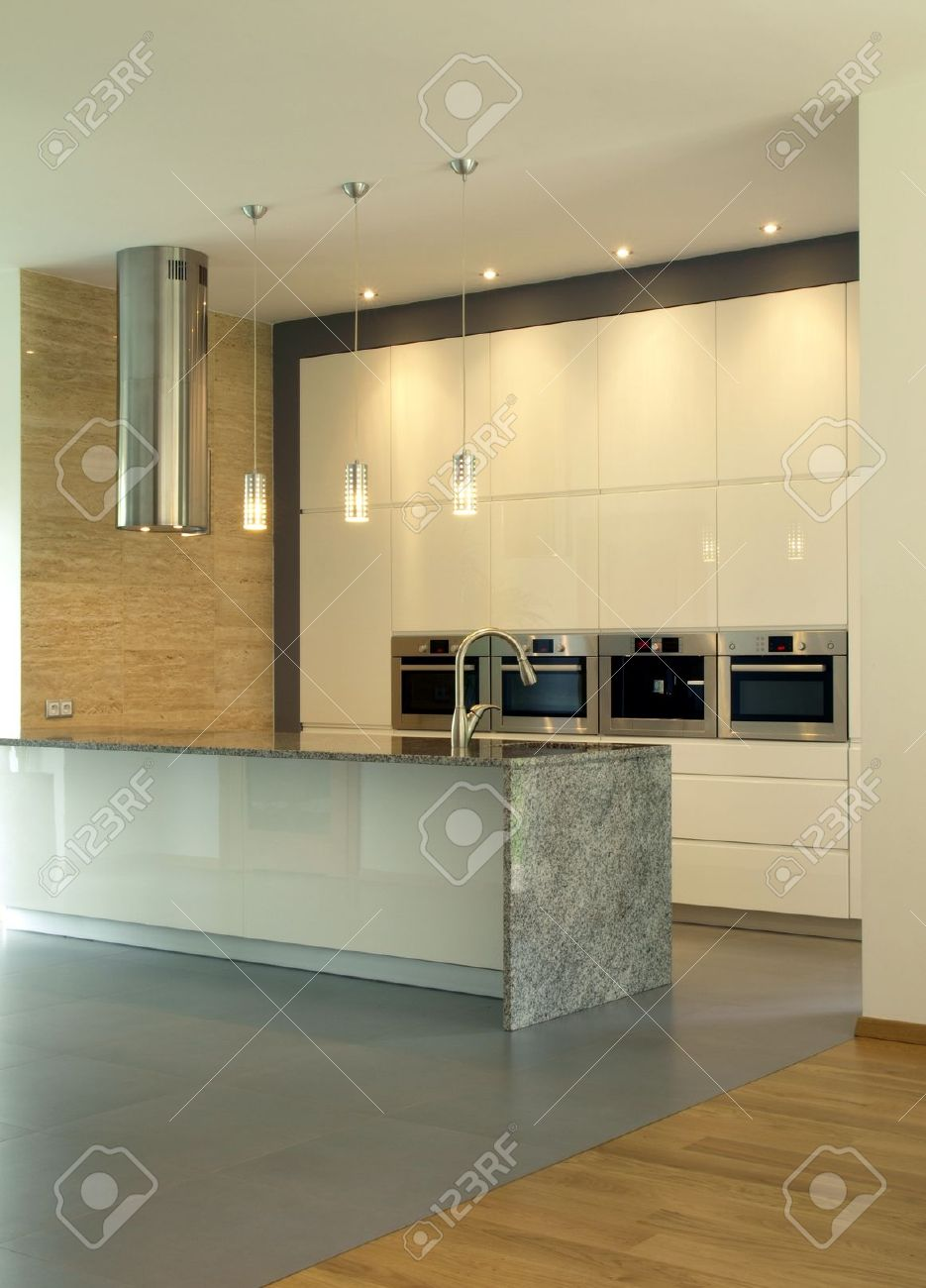 New, modern and bright kitchen with lighting