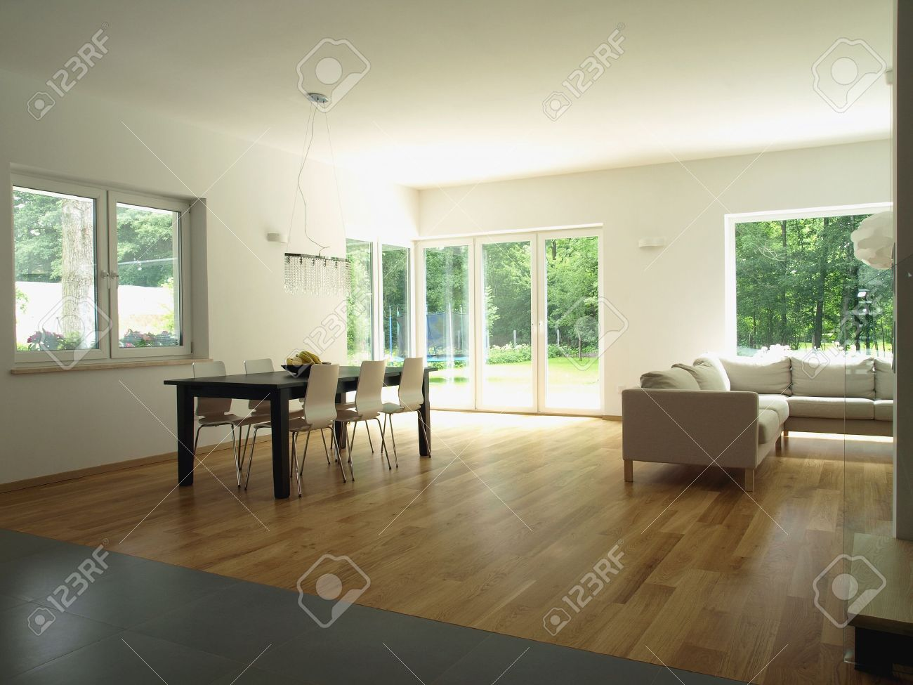 Interior of modern house with huge windows Stock Photo - 14525293