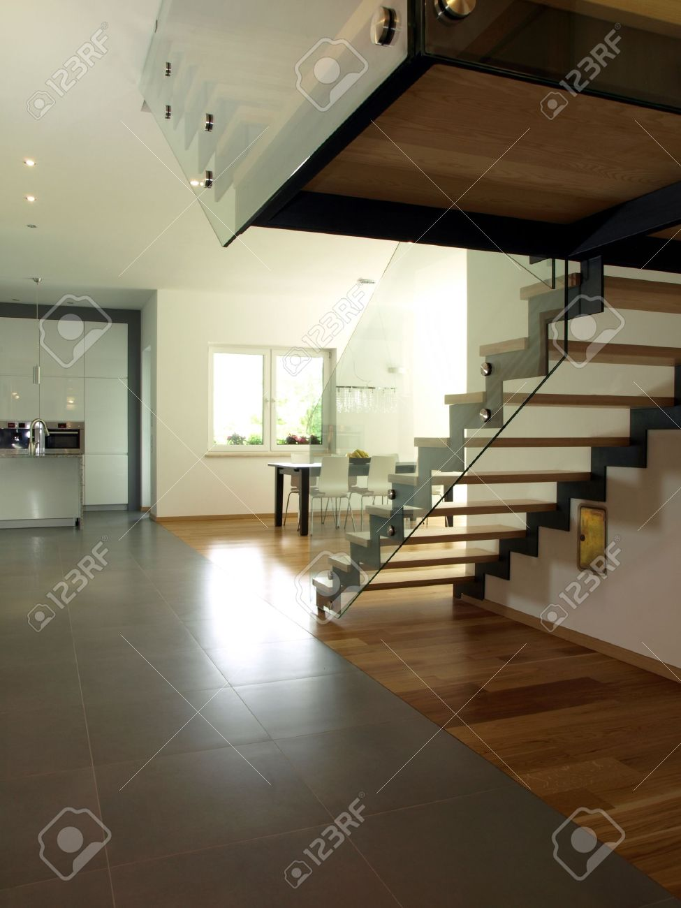 Interior Of New Modern House, Stairs nd Kitchen Stock Photo ... - ^