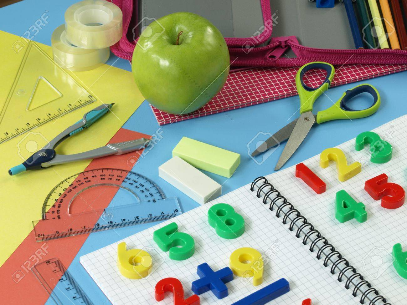 Worksheet Firstmath first math tasks colorful children work place stock photo 14600931